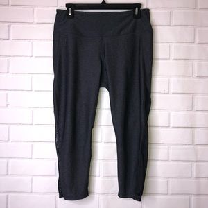 Zella Dark Gray Black Mesh Insert Workout Leggings